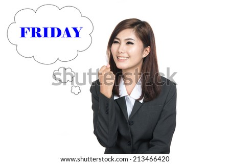 Thinking Friday  woman looking up on speech bubble,Thai girl.Closeup portrait successful smiling lady,Positive human emotions,facial expressions,feeling ,signs,symbol,shot isolated on white background - stock photo