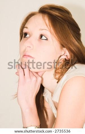 thinking girl - stock photo