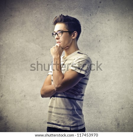 Thinking guy - stock photo
