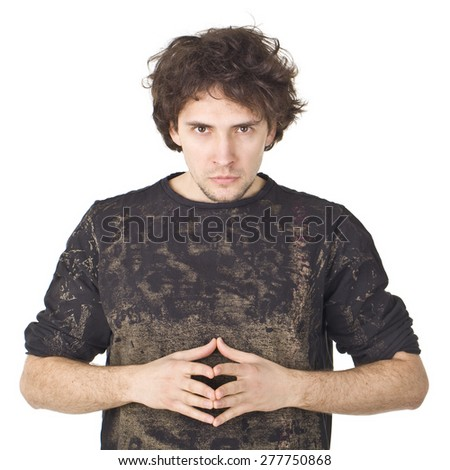 Thinking handsome man with black shirt. - stock photo