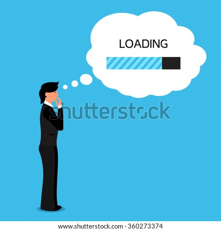 Thinking human with bubble with loading bar of his thoughts.  - stock photo