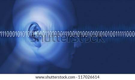Thinking in binary numbers 1 - stock photo