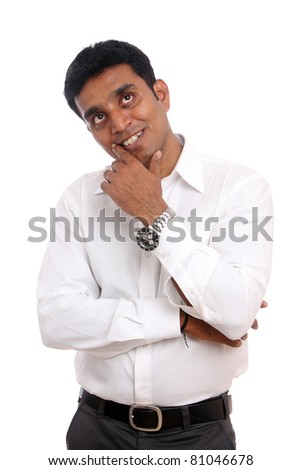 Thinking Indian young businessman on white background.