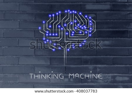 thinking machine: robotic brain made of microchip ciircuits with led lights
