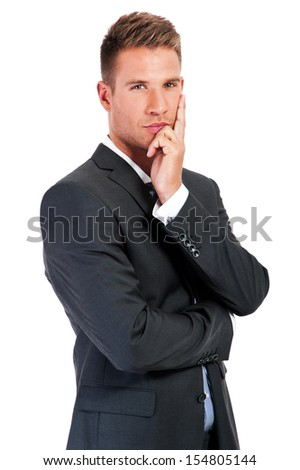 Thinking man isolated on white background. Closeup portrait of a casual young pensive businessman looking up at copyspace. Caucasian male model.  - stock photo