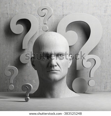 Thinking man statue with question mark on gray background to illustrate learning, education, testing, quizzing, creativity and imagination - stock photo