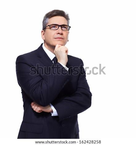 Thinking mature businessman isolated on white background - stock photo
