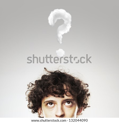 thinking men with question mark on white background