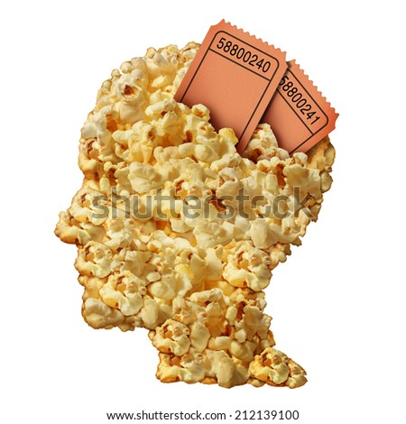 Thinking movies concept and movie guide or reviews symbol as a heap of popcorn shaped as a human head with ticket stubs emerging as an icon for entertainment issues and public media consumption. - stock photo