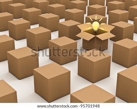 Thinking outside the box and individuality concept, one opened cardboard box with idea light bulb standing out in the crowd on white background