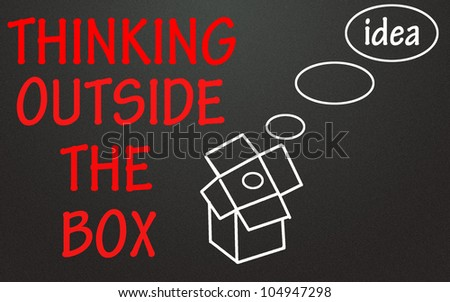 thinking outside the box symbol - stock photo