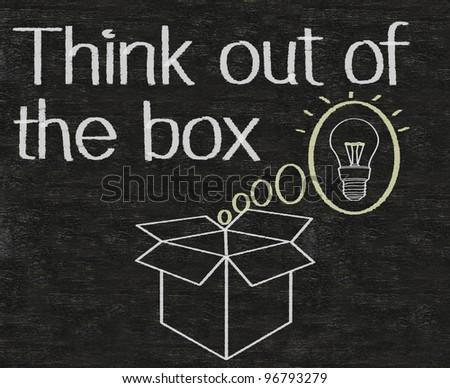 thinking outside the box written on blackboard background - stock photo