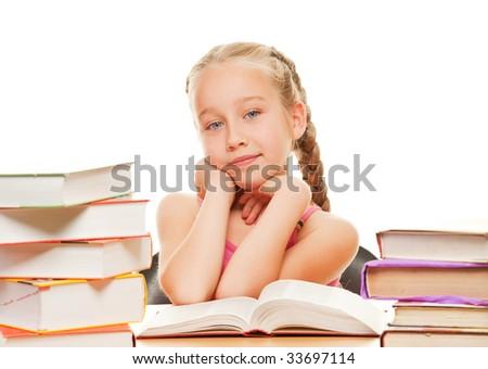 Thinking schoolgirl - stock photo