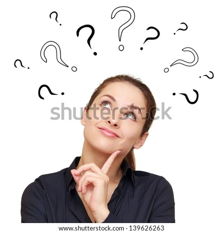 Thinking smiling woman with questions mark above head looking up isolated on white background
