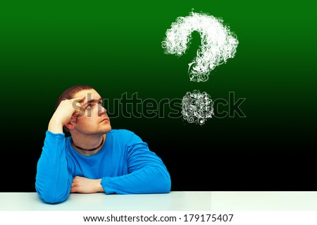 thinking symbol of young man