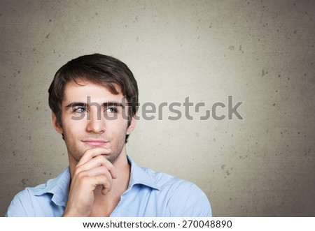 Thinking. Thoughtful handsome male - stock photo