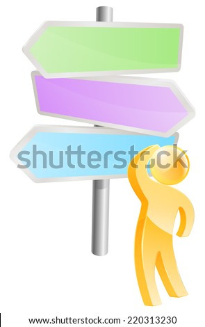 Thinking through options concept, a man looking at a direction sign and considering his options - stock photo