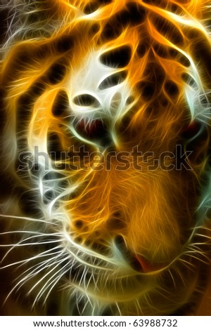 Thinking Tiger A fractal filtered image of a Bengal Tiger. Vertical. - stock photo