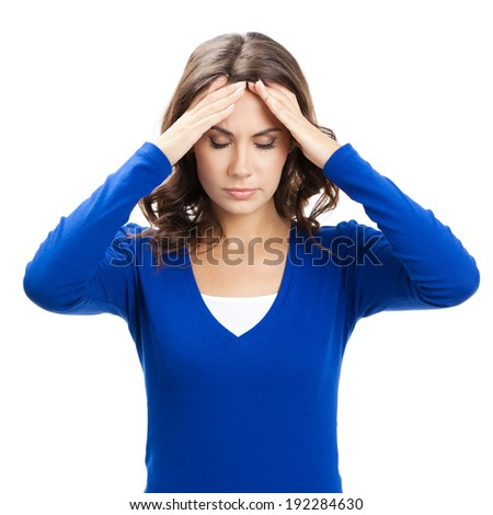 Thinking, tired or ill with headache young woman, isolated over white background - stock photo