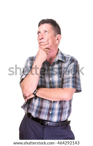 Thinking transgender man in plaid shirt on White Background