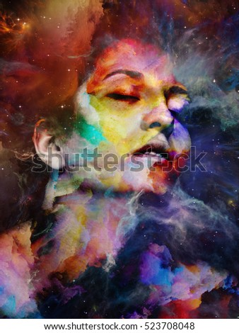 Thinking Up Reality series. Surreal female portrait blended into background on the subject of dreaming, imagination and mystical experience.
