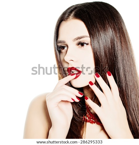 Thinking Woman Fashion Model. Makeup and Healthy Dark Hairstyle