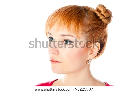 thinking woman isolated on a white background - stock photo