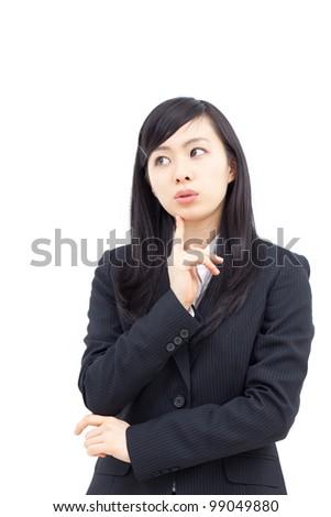 thinking woman , isolated on white background - stock photo