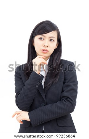 thinking woman , isolated on white background
