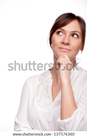thinking woman looking up with hand on chin isolated on white