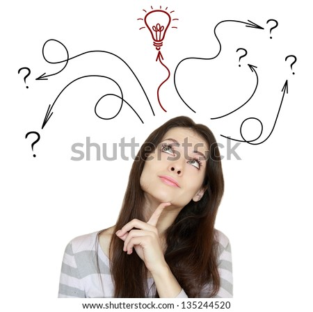 Thinking woman making decision and have an idea. She looking up isolated on white background
