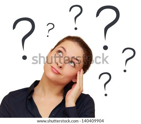 Thinking woman with question marks above the head isolated on white background - stock photo