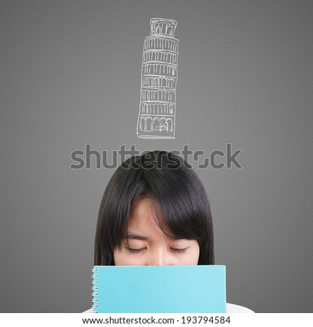 Thinking women with Leaning Tower of Pisa - stock photo