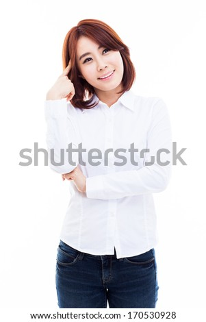 Thinking young Asian woman isolated on white background