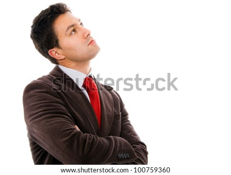 thinking young business man on white background - stock photo