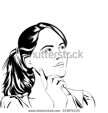 Thinking young woman line art style. Raster illustration.