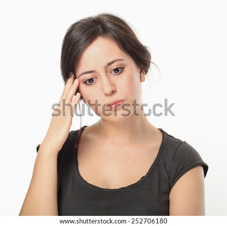 Thinking Young Woman Portrait. - stock photo