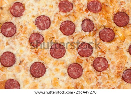 Thinly sliced pepperoni is a popular pizza as background - stock photo
