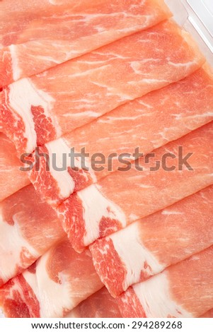 Thinly sliced pork - Close up - stock photo