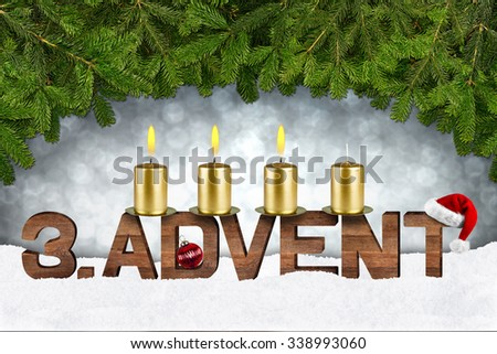 third advent concept with candles and fir branches - stock photo