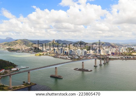 Third bridge (Terceira Ponte), view of Vitoria, Vila Velha, bay, from Morro do Morena, Espirito Santo, Brazil