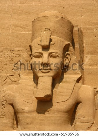 Third head in Abu Simbel Temple of King Ramses II, a masterpiece of pharaonic arts and buildings in Old Egypt - stock photo