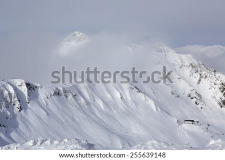 Third peak Aigbi in the Caucasus Mountains. Rosa Khutor Alpine Resort in Sochi. Russia. - stock photo