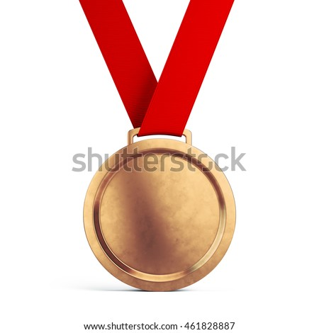Third place Bronze medal with red ribbon isolated on white background - 3d illustration