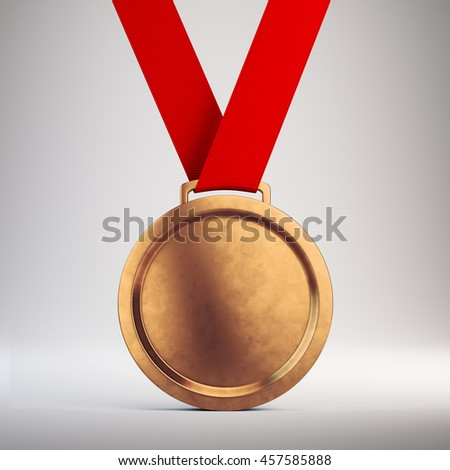 Third place Bronze medal with red ribbon on gray background - 3d illustration