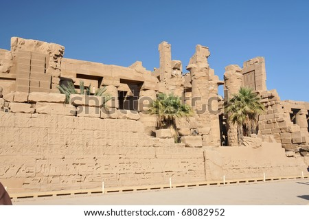 Third pylon and the hypostyle hall at the ancient Egyptian temple of Amun at Karnak, Luxor in Egypt - stock photo