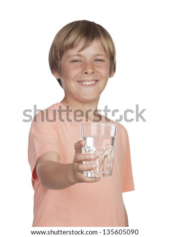 Thirsty adolescent with water for drink. Focus on the glass - stock photo