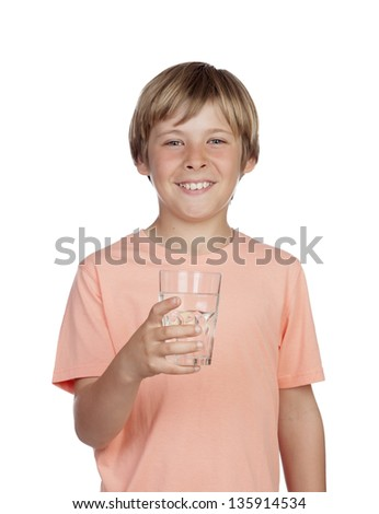 Thirsty adolescent with water for drink isolated on white background - stock photo