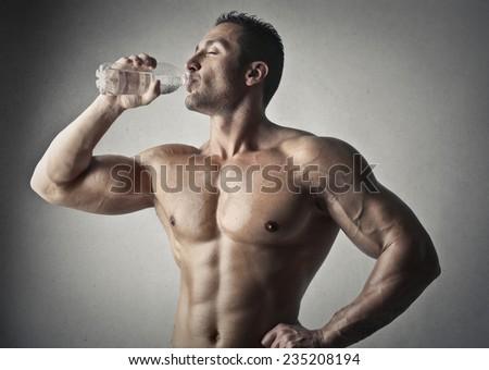 Thirsty man - stock photo