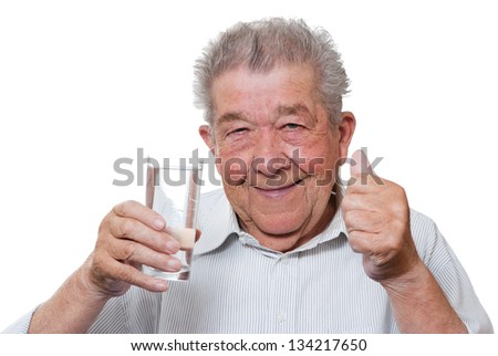 Thirsty Senior - stock photo